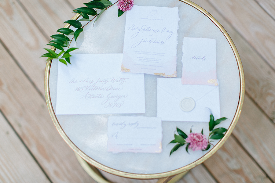 gold wedding invitations calligraphy